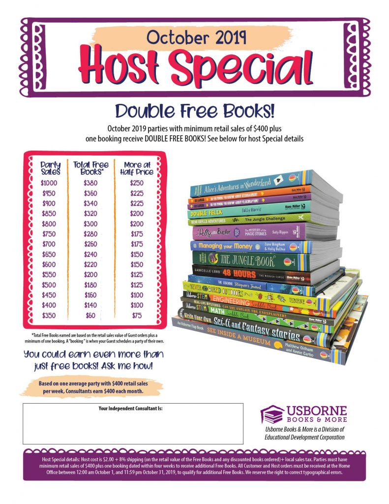 October Hostess Special with Double Free Books