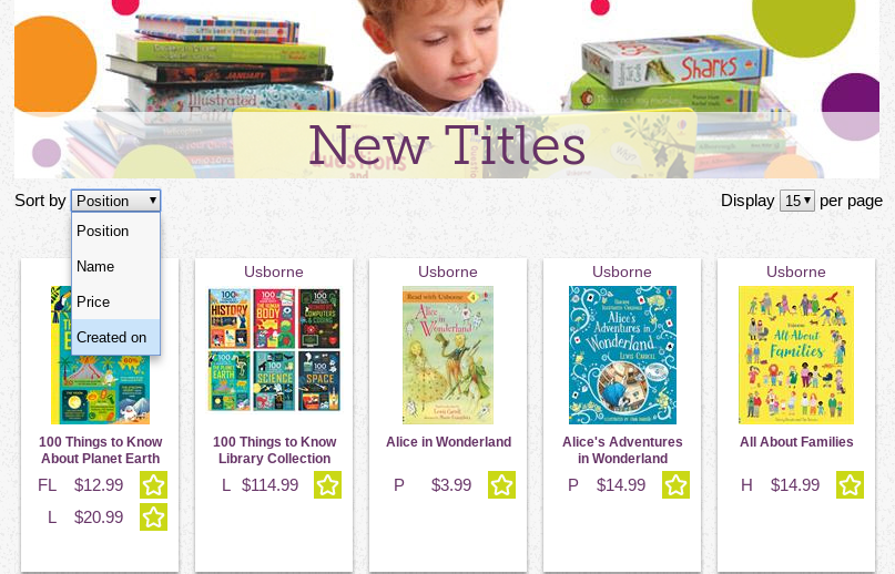 Screenshot of the website to show how to sort the new titles