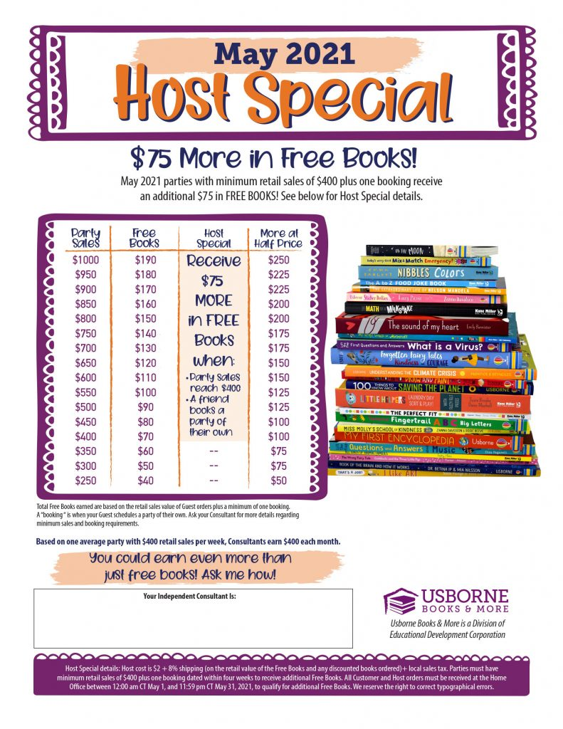 May 2021 Host Rewards for Usborne Books &  More