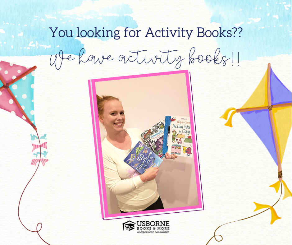 Activity books from Usborne Books & More to help keep kids busy at home
