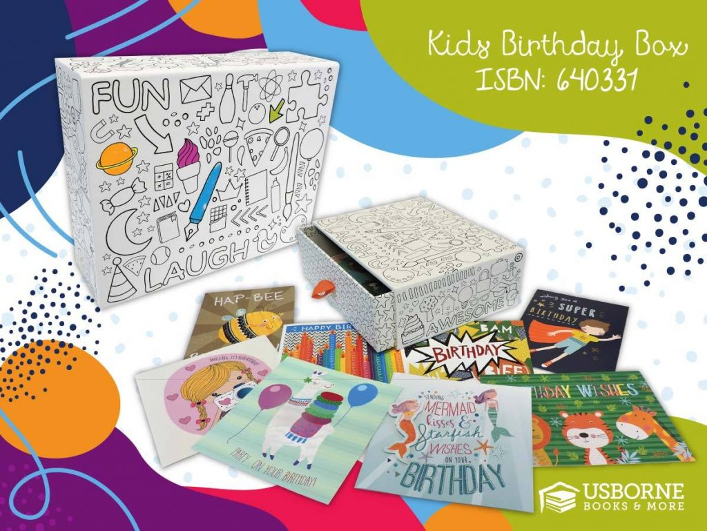 Cards for a Cause Kid Birthday box with 30 cards and keepsake box to color
