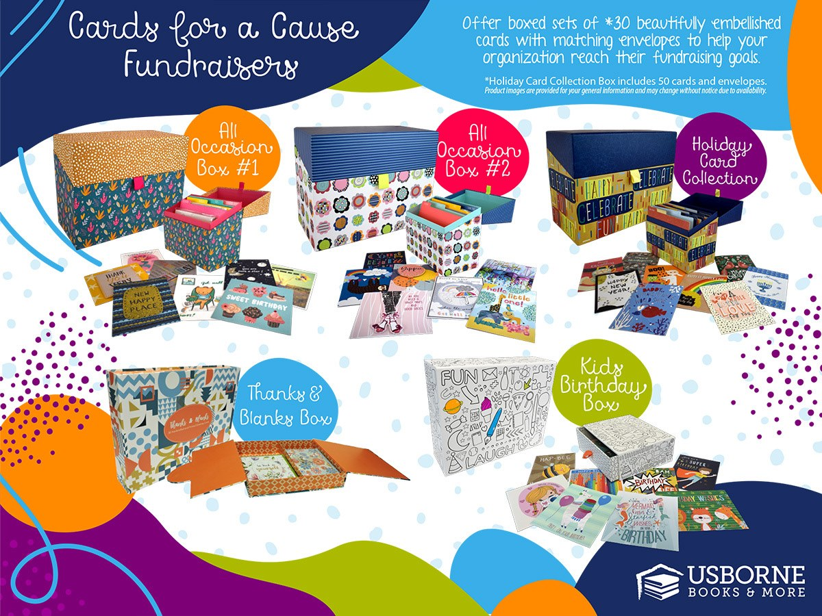 Cards for a Cause Fundraiser box options with Usborne Books & More. Choices are kid birthday, two All Occasion choices, a Holiday Box, and Thanks & Blanks