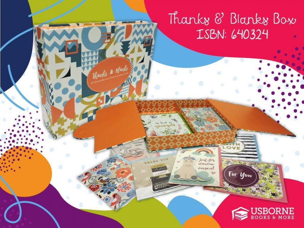 Thanks and Blanks set from Cards for a Cause - Usborne Books & More. This set contains 30 cards with keepsake box