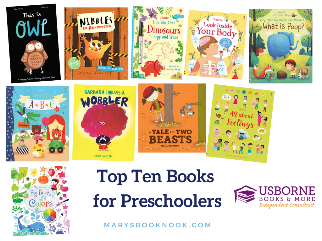 Top Ten Books for Preschoolers - This is Owl, Nibbles, Wipe-Clean Dinosaurs Copy and Trace, Look Inside Your Body, What is Poop, Lift the Flap ABC, Barbara Throws a Wobbler, Tale of Two Beasts, All About Feelings, Big Book of Colors