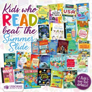 Kids who Read beat the summer slide graphic with pictures of books